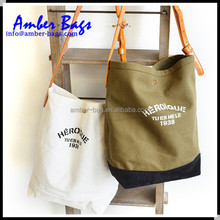High Quality Organic cotton canvas tote bag with PU leather Handle JC-1003