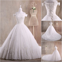 Top Quality Plus size dress wedding 2015 Cap-sleeves Lace ball gown bride dress Elegant bridal wedding dress LTG-012