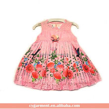 Kid Printed Flower Dress Design Frock Suits For Baby Girl