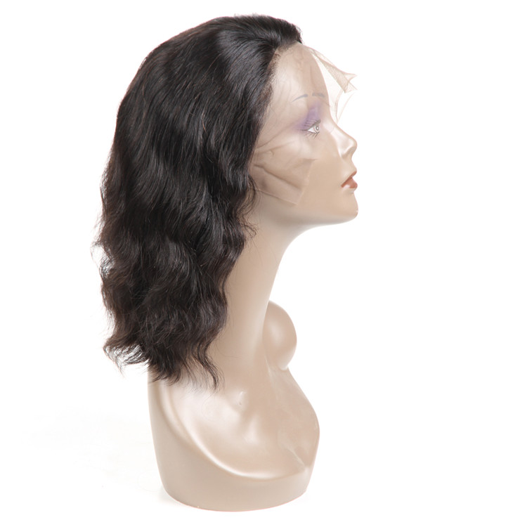 New Products Nature Black Body Wave 10inch Short Peruvian Human Hair Lace Front Bob Wigs