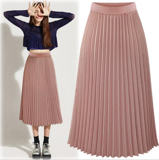 2016 New Style Summer Long Chiffon Pleated Skirt Woman Fashion Maxi Skirts - Buy SkirtPleated ...