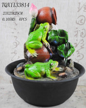 Frogs with jar tabletop fountain