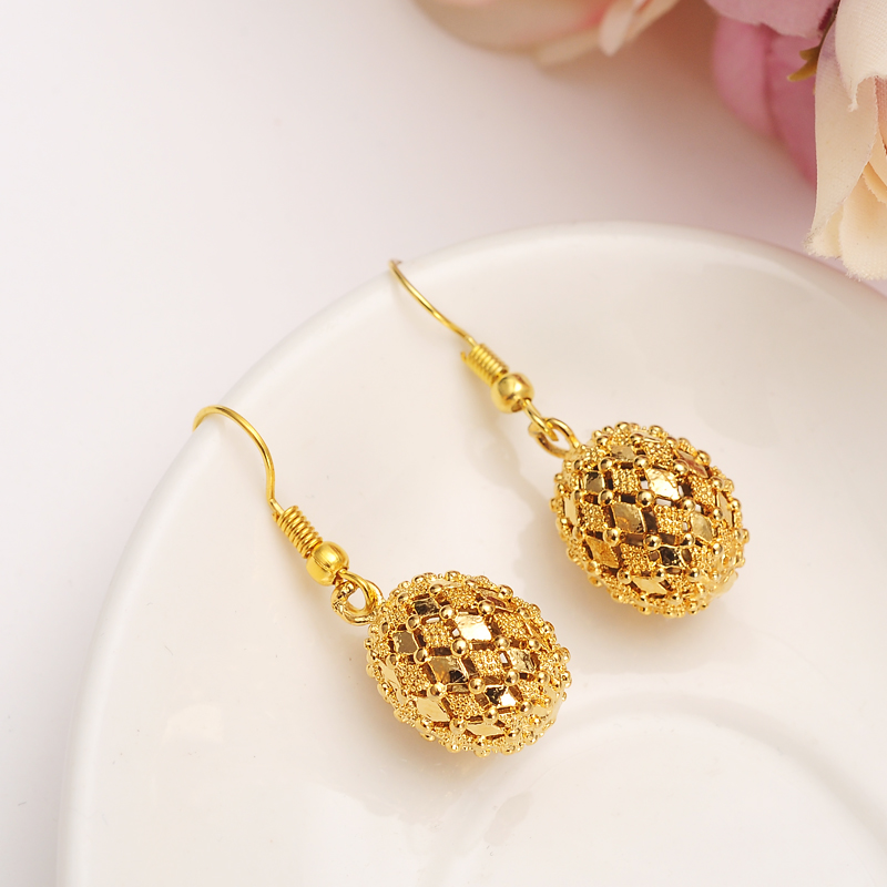 High Quality Ball Pendant Drop Earrings Women Love Trendy Copper Jewelry For African Arab Middle Eastern Kids Best Gift