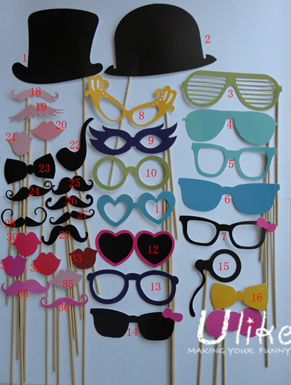 Multicolor Head Accessories Paper Photo Booth Props Set For Wedding Party