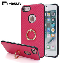 Latest mobile covers for iphone 7 case finger,pc + tpu carbon fiber pu back 3 in 1 phone holder for iphone 7 case ring
