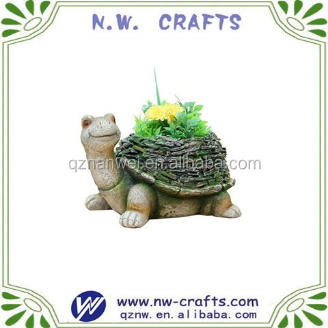 Polyresin Turtle with moss covered shell flower pot decoration