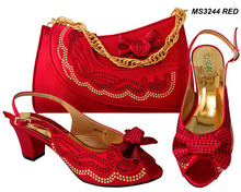 NEW Italian red Shoes With Matching Bags 2018 Fashion Nice Matching Shoes And Bag Sets Retail/Wholesale