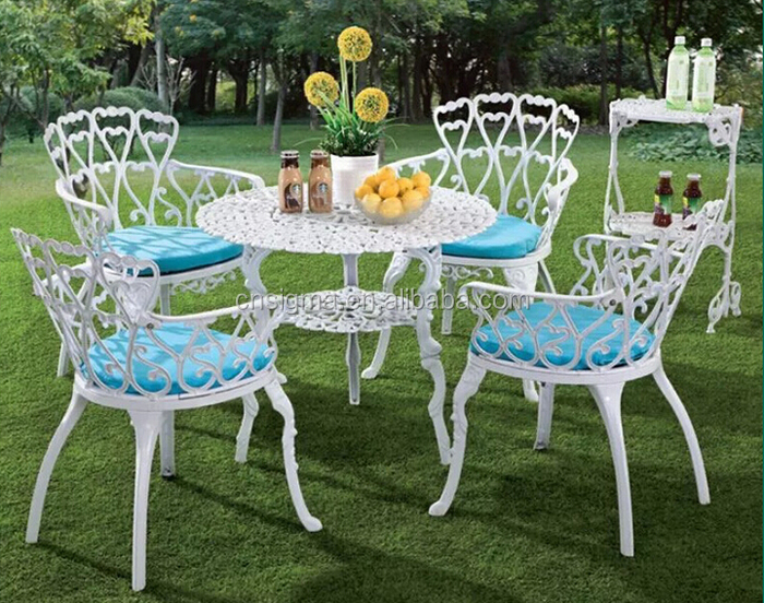 White outdoor furniture kids table and chair set cast aluminum patio sets