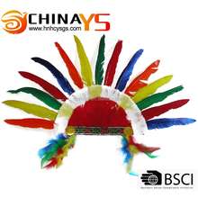 Multi-color Indian Wholesale Feather Headpiece Carnival Turkey Feather Headdress For Samba on promotion YS 5461