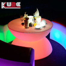 Illuminated battery plastic led glass top home bar table/snack table/coffee table