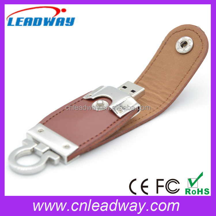 2016 New Leather USB 2.0 Flash Drive, Embossed Logo USB Fash Disk, 8GB Leather USB Stick