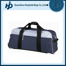 Promotion big size polyester travel bag on wheels