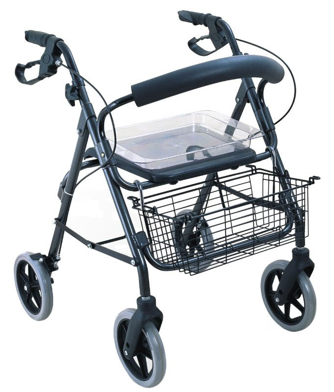 Aluminum elderly Rollator walker with four/4 wheels