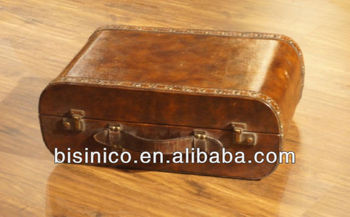 Elegant antique leather trunk,leather trunk case,home functional furniture MOQ:1 pcs (BF00-00013)