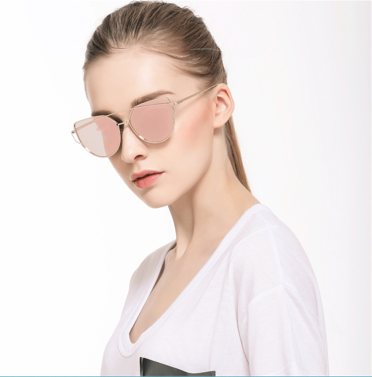 2017 new fashion pink mirror coating women sunglasses