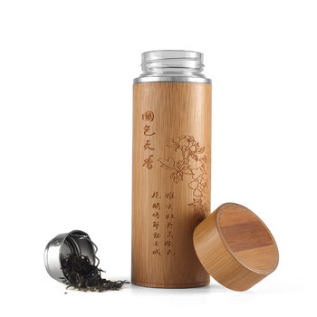 450ml 304 stainless steel tea infuser bamboo body and High borosilicate glass bottle