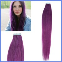 20 Inch Tape In Remy Real Human Straight Hair Extensions 25g Purple color hair 10pcs