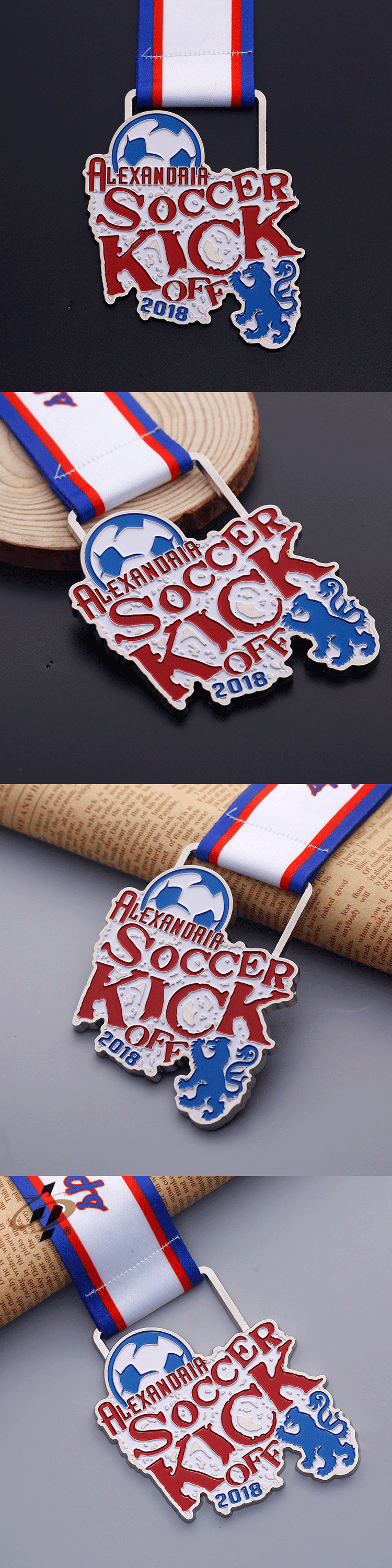 Custom die stuck metal silver enamel soccer award medals with lanyard