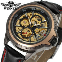 Winner Luxury Watch Genuine Leather Automatic Mechanical Skeleton Watch Design Your Own Brand From China Supplier