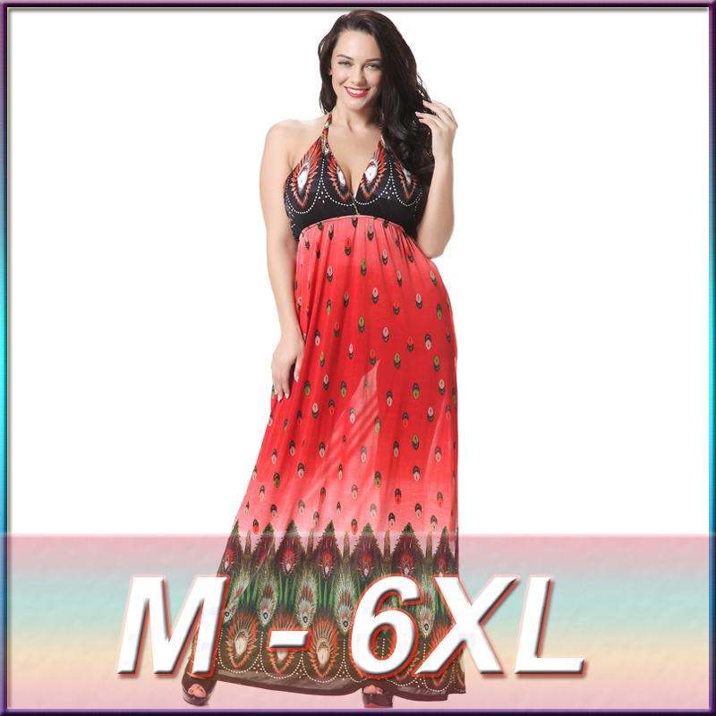 Ladies western long dress 3xl plus size dress designer halter neck one piece dress oem clothing manufacturing