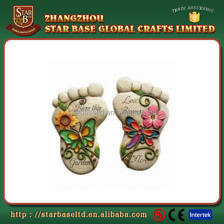Custom made wholesales decorative resin garden foot shape stepping stone