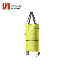Cheap Reusable Portable Folding Non-woven Shopping Bags With Wheels