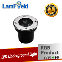 3 Years Warranty IP68 Crack Resistance 3W Round LED RGB Underground Light For Garden