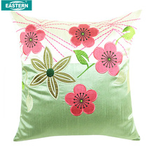 luxury embroidery pillow silk cushion cover aplique pillow outdoor cushion cover round microbead pillow