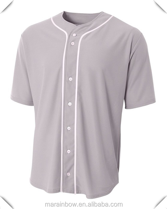 Blank Baseball Jerseys Wholesale Mens Full Button Baseball Jersey with Contrasting Piping OEM Cool Dry Fit Mesh Jersey