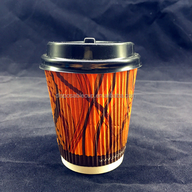 Biodegradable ripple wall coffee cups Insulated triple wall paper cup