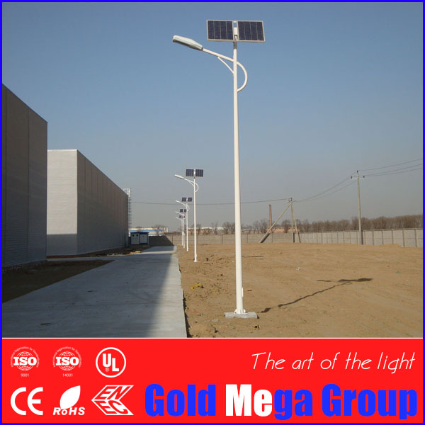 Single and double-arm Q235 steel 20 feet 6 meters height LED solar light for parking