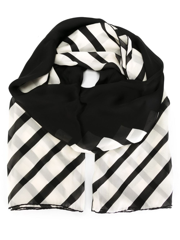 2016 the most fashion women scarf 100% cotton black and white stripes scarf