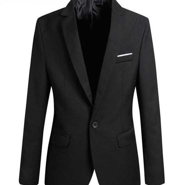 Black Blazer Men 2018 New Arrival Spring Korean Fashion Slim Single Button Suit Jacket Casual Band Blazer Masculino