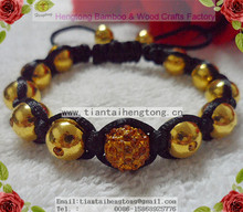 golden coating copper ball pave setting shamballa bracelet with crystal diamond