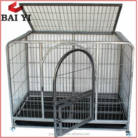 Folding Dog Crate With Plastic Tray / Wheels & Professional Designer XXL Dog Crate