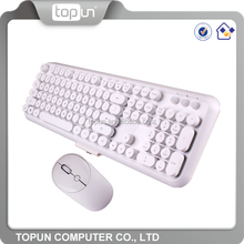 Cheap OEM Logo Elegant Round 2.4G White Colored Wireless Keyboard and Mouse Combo Kit Set Wholesale