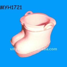 2012 new fashion ceramic pink boot flower pot