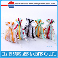 Organza gift bag draw string with stripe wholesale pouch