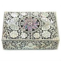 Korean Najeon Chilgi Lacquer Mother of Pearl Nacre Inlaid Jewelry Box GOGL#10275