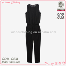 New ladies' fashion sleeveless pu combinattion polyester and raton solid fabric high quality direct factory dresses philippines
