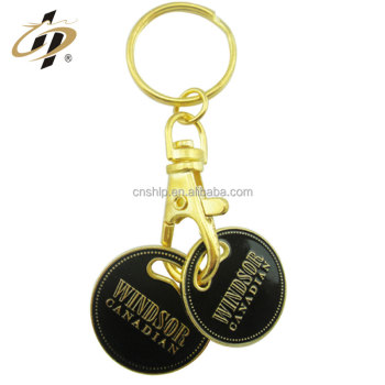 Promotional gift metal zinc alloy black enamel custom double coin keyholder with gold plated
