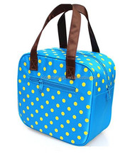 Yellow polka dot insulated picnic lunch travel bag for kids children