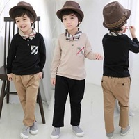 Cotton Kids Free Shipping Boys Boutique Outfits 2016 Pant Shirt Price