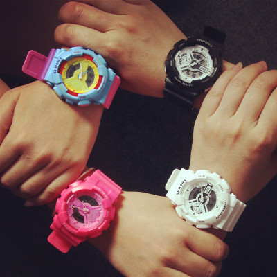 SHHORS double time sports waterproof watch candy color jelly fluorescent electronic watch