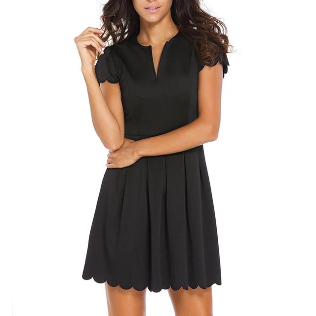 Black High Waist Dresses, Women Cap Sleeve Pleated Dresses, V Neck Swing Dresses