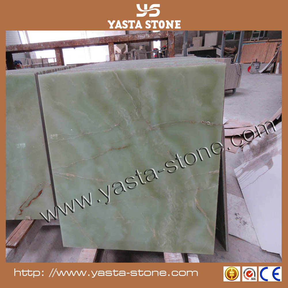 Laminated green onyx marble tile for flooring decoration price