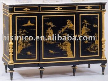 french marquetry furniture, handpainted chest, bronze decoated chest