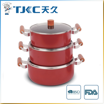 Non-stick Sauce Pot with Glass Lid and Wooden Handle