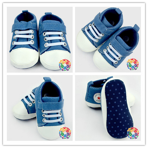 Classic Baby Boy Girl Kid Soft Sole Sport Shoes Sneaker Jeans Canvas Wholesale Baby Crib Shoe