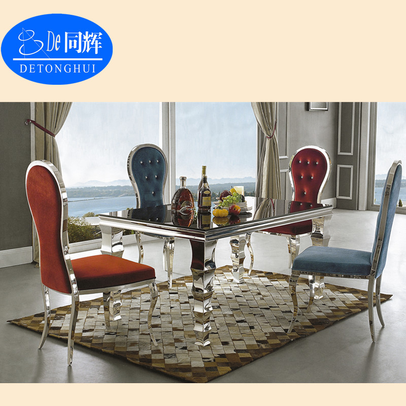 Chinese Style Glass And Metal Dining Table And Chair